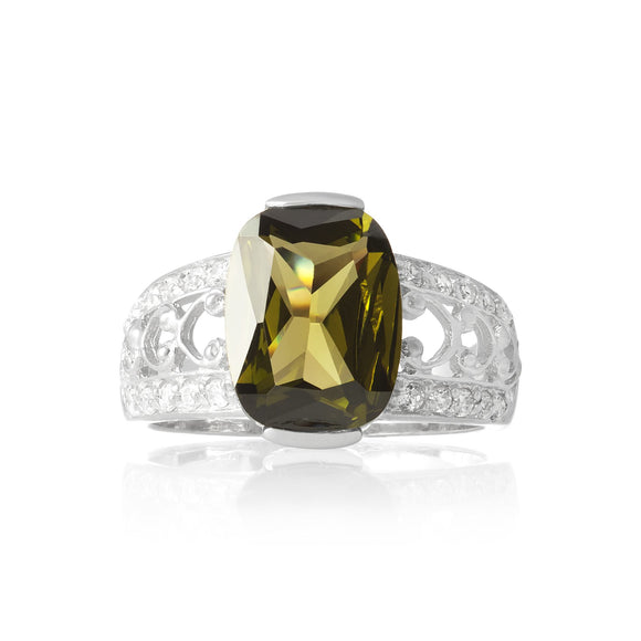 RZ-3590-O Bertina Oval Cut CZ Ring - Olive | Teeda