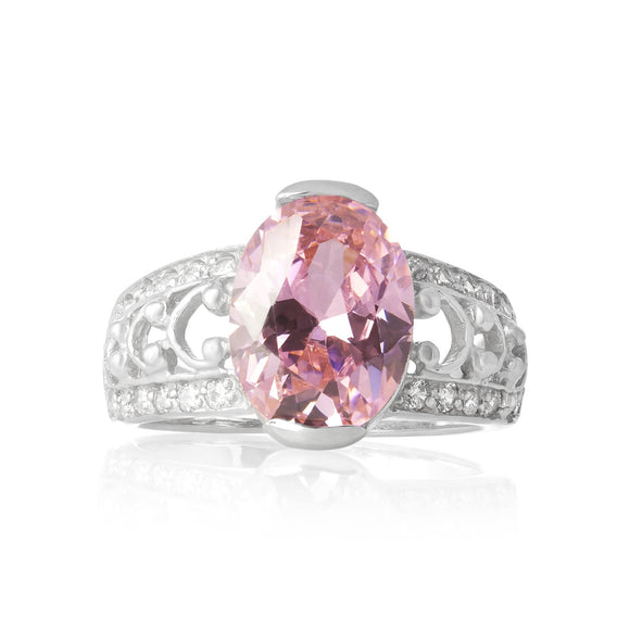 RZ-3590-P Bertina Oval Cut CZ Ring - Pink | Teeda