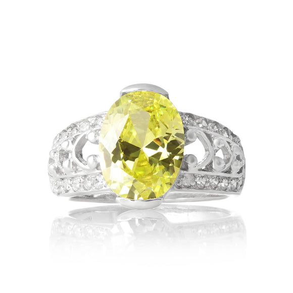 RZ-3590-PE Bertina Oval Cut CZ Ring - Peridot | Teeda