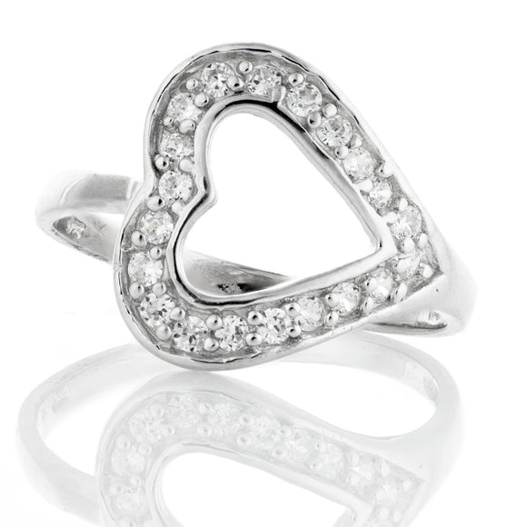 RZ-4045 Sideways Open Heart Cubic Zirconia Ring | Teeda