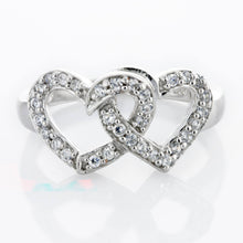 RZ-4072 Double Interlocking Hearts Cubic Zirconia Ring | Teeda