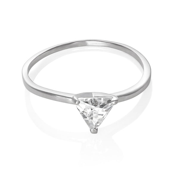 RZ-5200 Triangle Trillion Cut Cubic Zirconia Solitaire Ring | Teeda