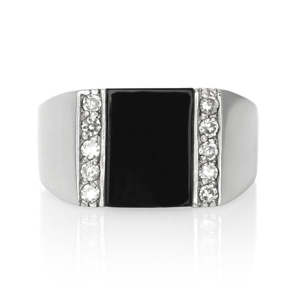 RZ-6690-O Mens Inlay CZ Ring - Black Onyx | Teeda