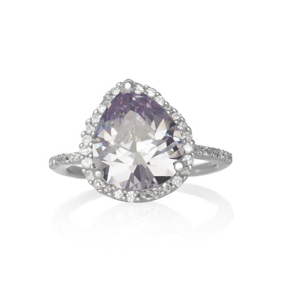 RZ-7044-L Pear CZ Halo Cocktail Ring - Lavender | Teeda