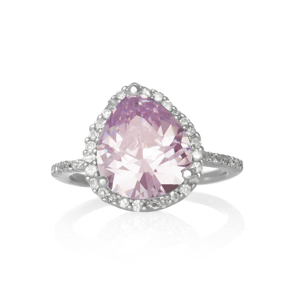 RZ-7044-P Pear CZ Halo Cocktail Ring - Pink | Teeda