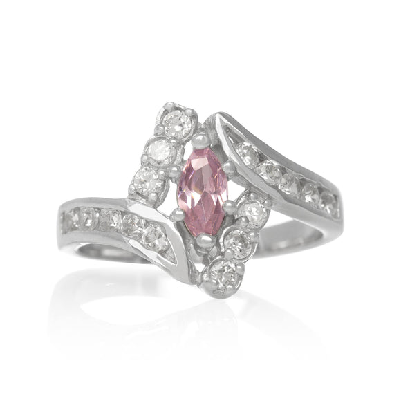 RZ-7047-CP Marquise Channel Set Wave CZ Ring - Clear-Pink | Teeda