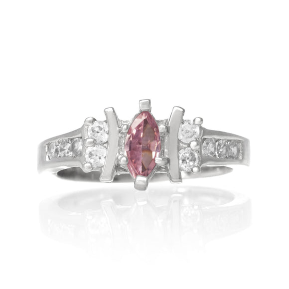 RZ-7048-CP Marquise and Round CZ Ring - Clear-Pink | Teeda