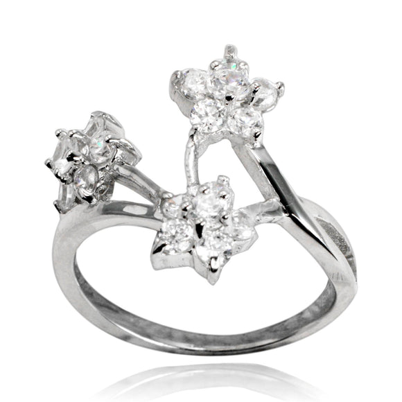 RZ-7052 Flower Trio CZ Ring | Teeda