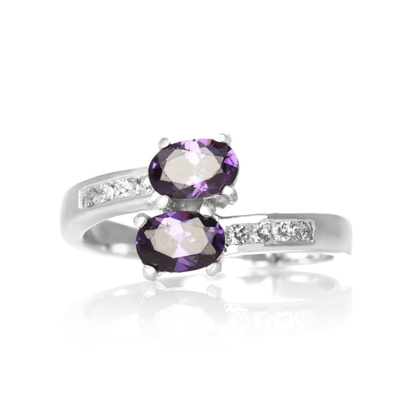 RZ-7055-AM Oval Duo CZ Ring - Amethyst | Teeda