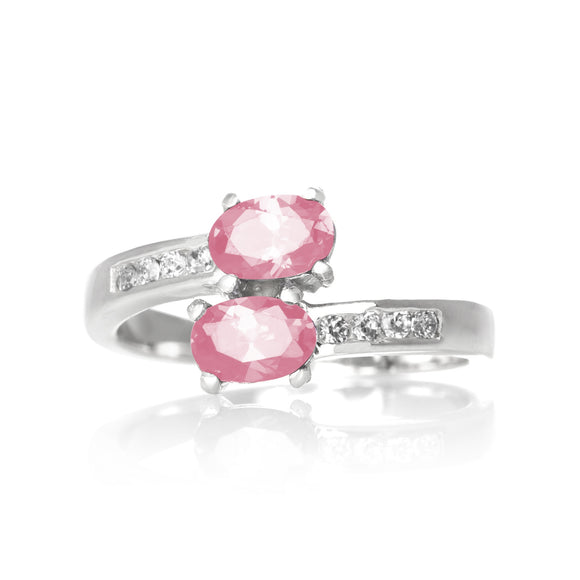 RZ-7055-P Oval Duo CZ Ring - Pink | Teeda