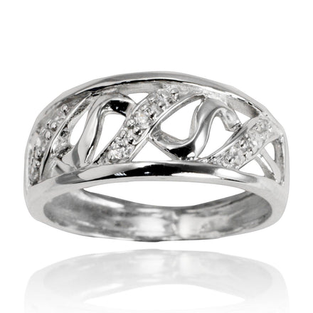 RZ-7061 Squiggle Wave CZ Ring | Teeda