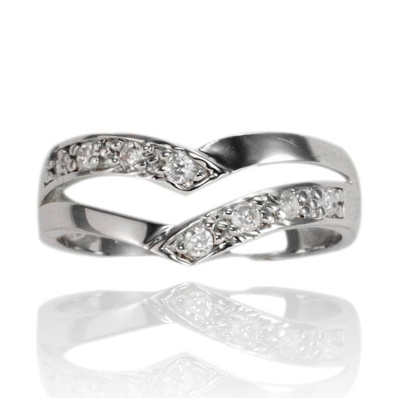 RZ-7062 Double Curve CZ Ring | Teeda