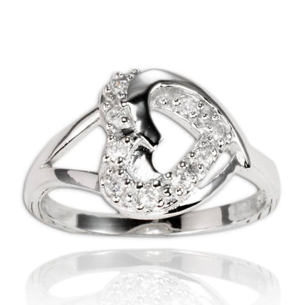 RZ-7067 Sideways Open Heart CZ Ring | Teeda