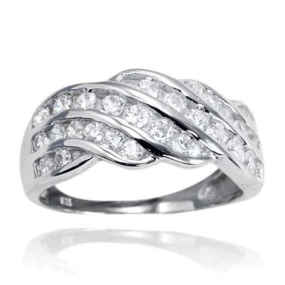 RZ-7073 Wave Channel Set CZ Ring | Teeda