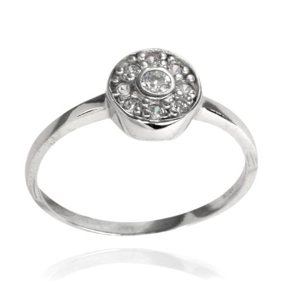 RZ-7084 Circle Bezel CZ Ring | Teeda