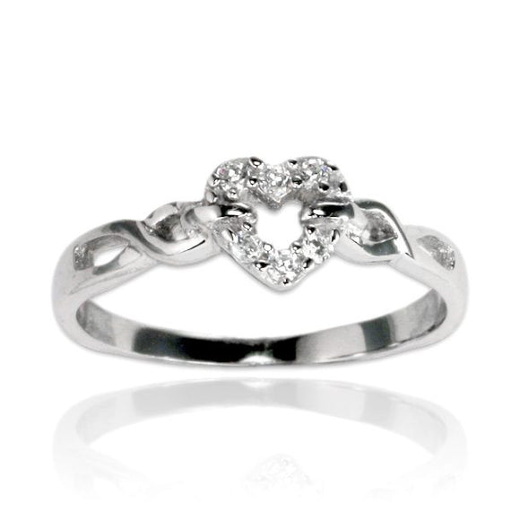 RZ-7104 Open Heart Twist Braid CZ Ring | Teeda