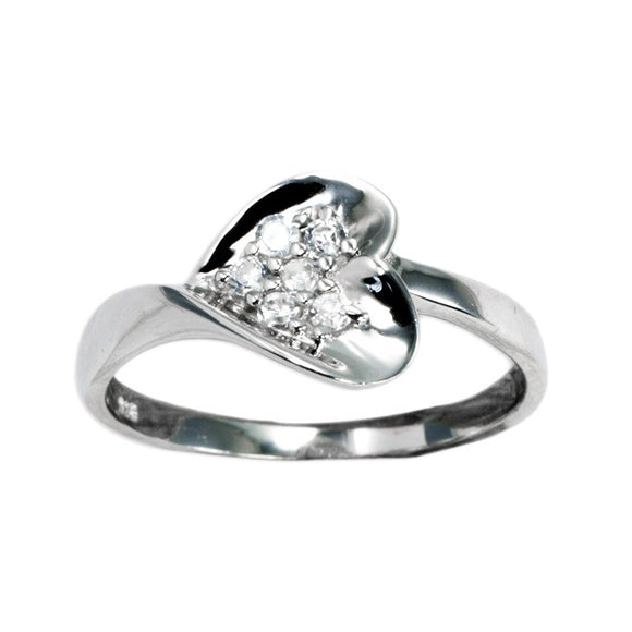 RZ-7117 Sculpted Heart CZ Cluster Ring | Teeda