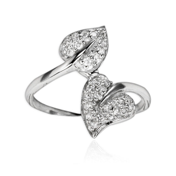 RZ-7128 Leaf Duo Pavé CZ Ring | Teeda