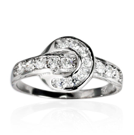 RZ-7136 Horseshoe Channel Set CZ Ring | Teeda