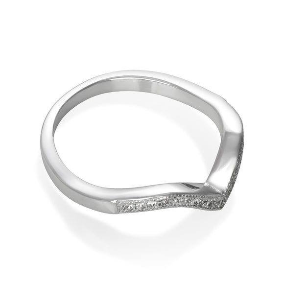 RZ-7150 Chevron V Cubic Zirconia Ring
