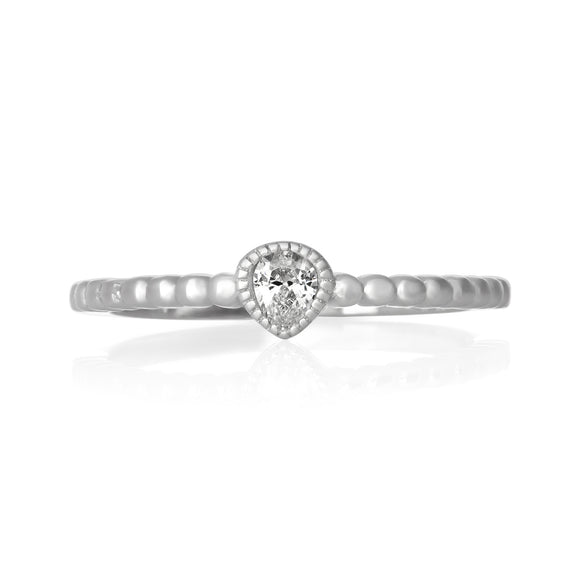 RZ-7151 Pear CZ Milgrain Beaded Half Band Ring | Teeda