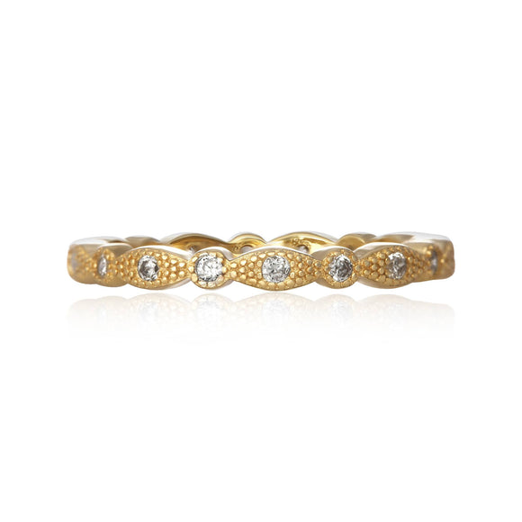 RZ-7153 Milgrain Marquise and Dot CZ Eternity Ring - Gold-Plated | Teeda