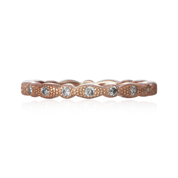 RZ-7153 Milgrain Marquise and Dot CZ Eternity Ring - Rose Gold-Plated | Teeda