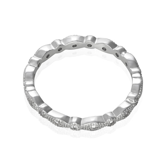 RZ-7153 Milgrain Marquise and Dot CZ Eternity Ring