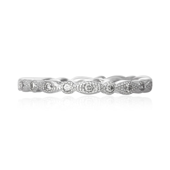 RZ-7153 Milgrain Marquise and Dot CZ Eternity Ring - Rhodium-Plated | Teeda