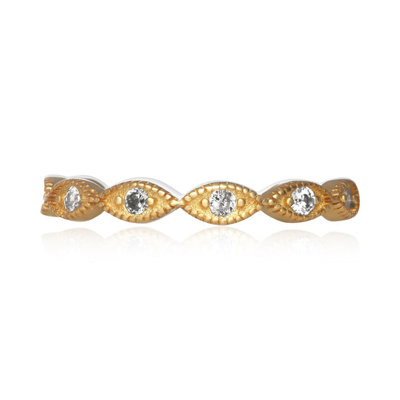 RZ-7155 Milgrain Marquise Cubic Zirconia Eternity Ring - Gold-Plated | Teeda
