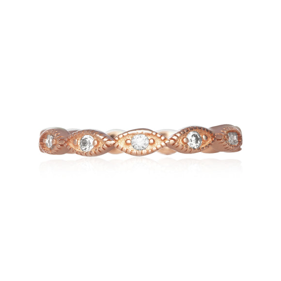 RZ-7155 Milgrain Marquise Cubic Zirconia Eternity Ring - Rose Gold-Plated | Teeda