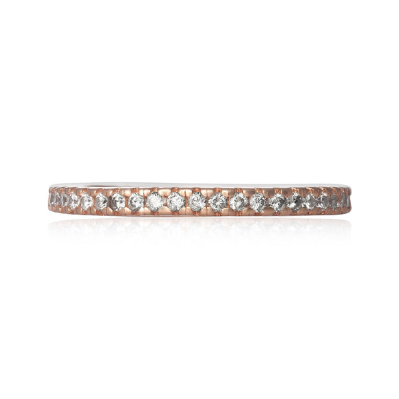 RZ-7156 Nouveau Cubic Zirconia Eternity Ring - Rose Gold-Plated | Teeda
