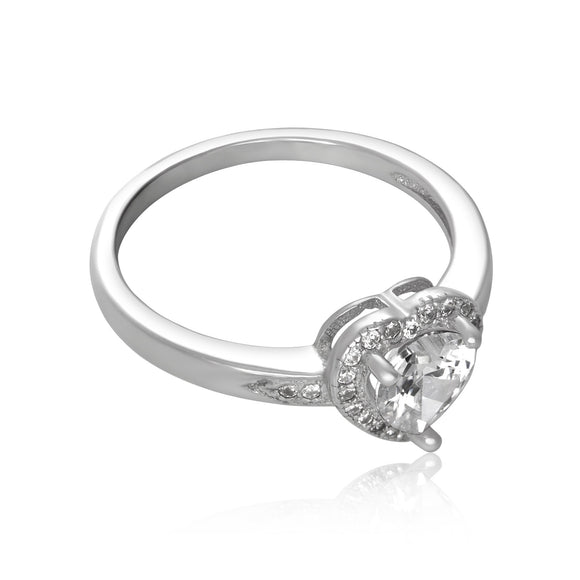 RZ-7161 Halo Heart Cubic Zirconia Ring