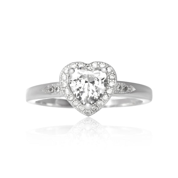 RZ-7161 Halo Heart Cubic Zirconia Ring | Teeda