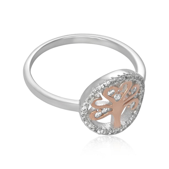 RZ-7162 Silver and Gold Tree of Life CZ Ring