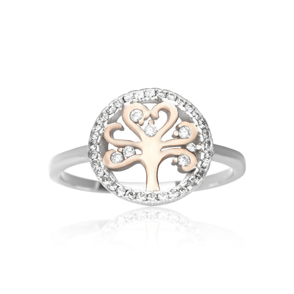 RZ-7162 Silver and Gold Tree of Life CZ Ring | Teeda