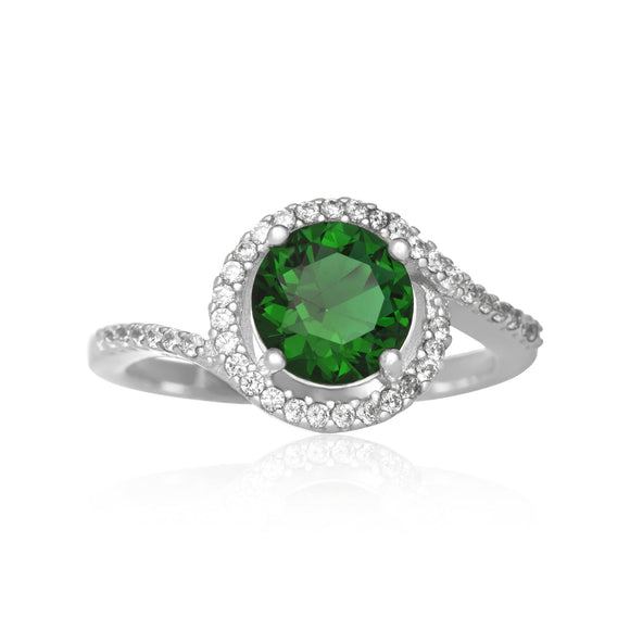 RZ-7163 Twisting Halo Cubic Zirconia Ring - Emerald | Teeda