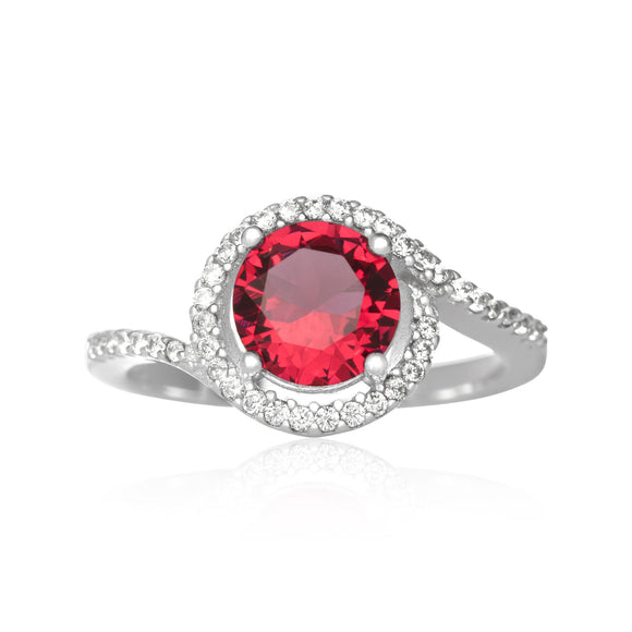 RZ-7163 Twisting Halo Cubic Zirconia Ring - Ruby | Teeda