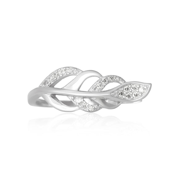 RZ-7165 Frond Feather Micropavé CZ Ring | Teeda