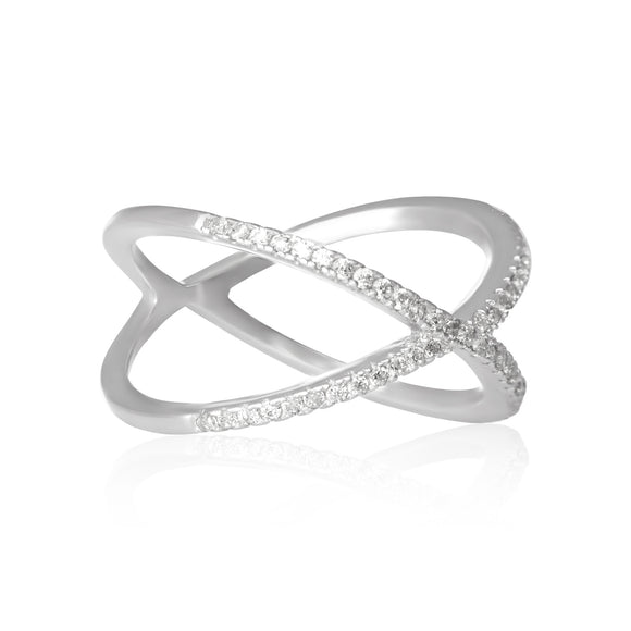 RZ-7167 Crisscross Cubic Zirconia Ring
