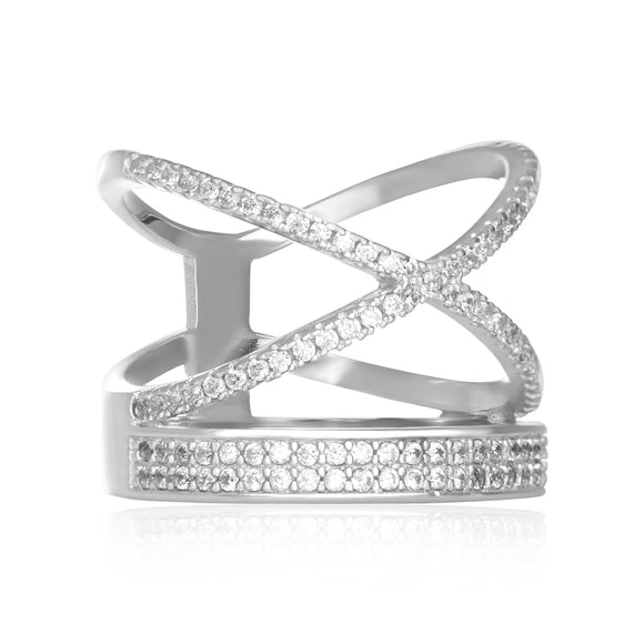 RZ-7168 Stacked Crisscross Band CZ Ring
