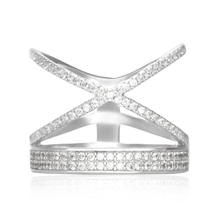 RZ-7168 Stacked Crisscross Band CZ Ring | Teeda