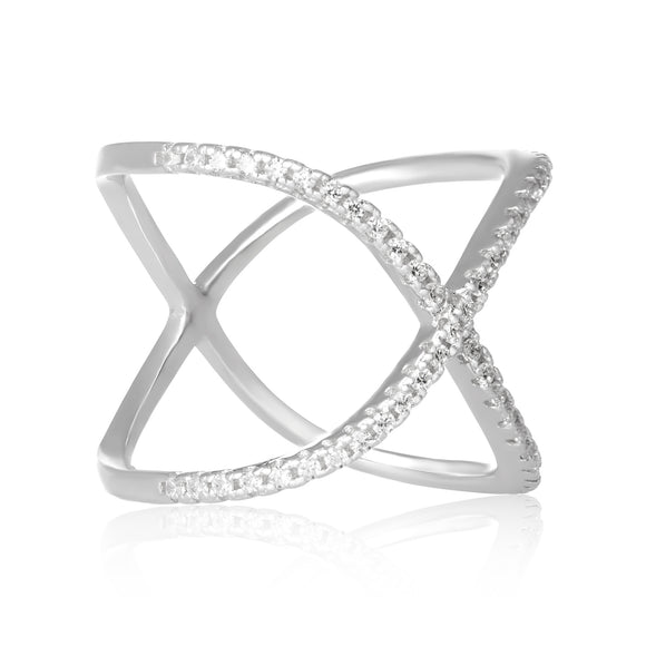RZ-7169 Curved Crisscross Cubic Zirconia Ring