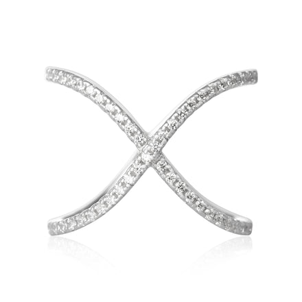 RZ-7169 Curved Crisscross Cubic Zirconia Ring | Teeda