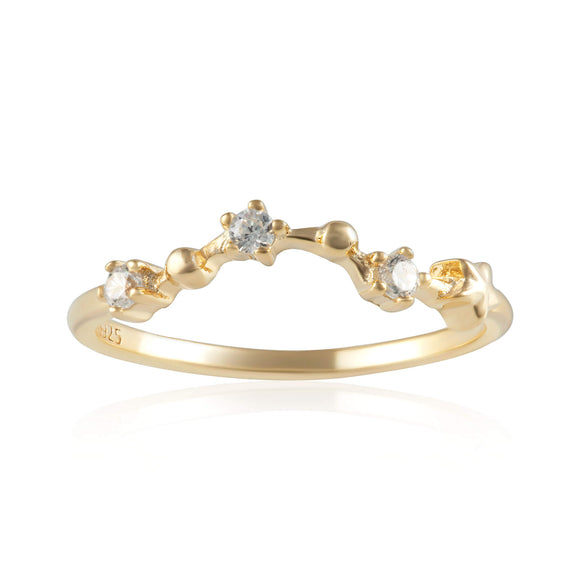 RZ-7173-G Zodiac Constellation CZ Ring - Gold Plated - Pisces | Teeda