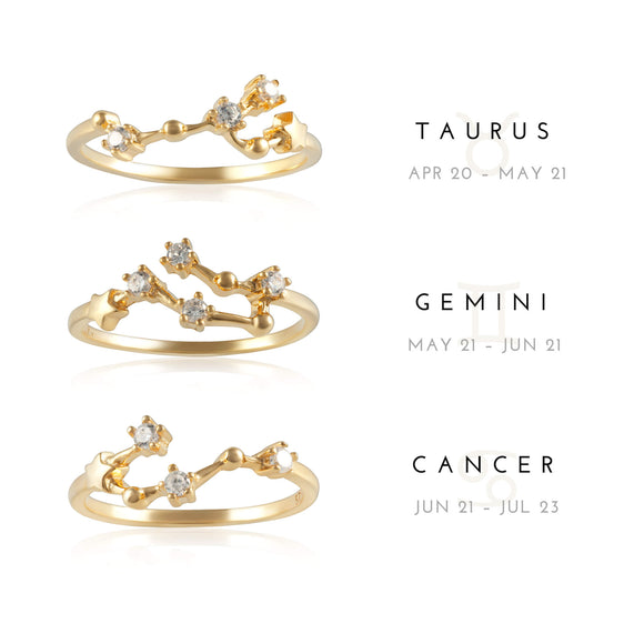 RZ-7173-G Zodiac Constellation CZ Ring - Gold Plated
