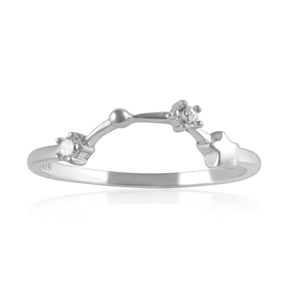 RZ-7173-RH Zodiac Constellation CZ Ring - Rhodium Plated - Aquarius | Teeda