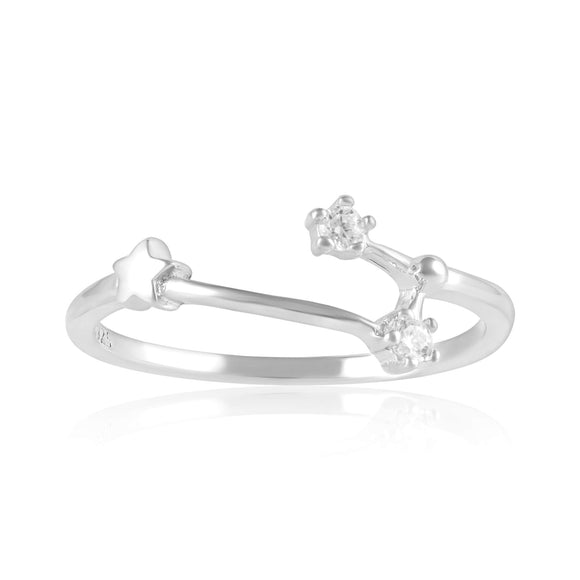 RZ-7173-RH Zodiac Constellation CZ Ring - Rhodium Plated - Aries | Teeda
