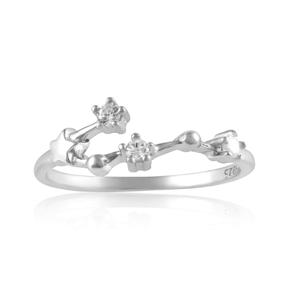 RZ-7173-RH Zodiac Constellation CZ Ring - Rhodium Plated - Cancer | Teeda