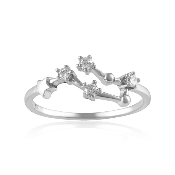 RZ-7173-RH Zodiac Constellation CZ Ring - Rhodium Plated - Gemini | Teeda